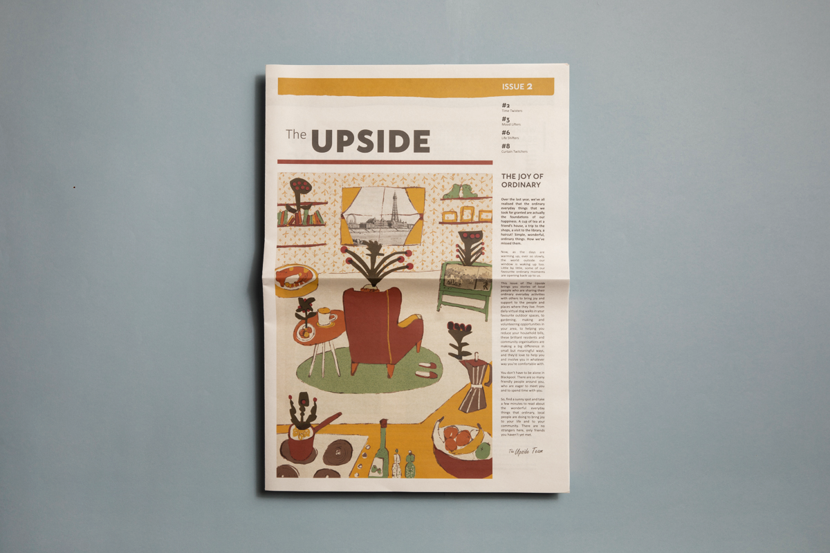The Upside broadsheet newspaper designed by Leftcoast. Printed by Newspaper Club.