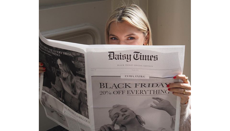 Black Friday newspaper from Daisy Jewellery. Printed by Newspaper Club.