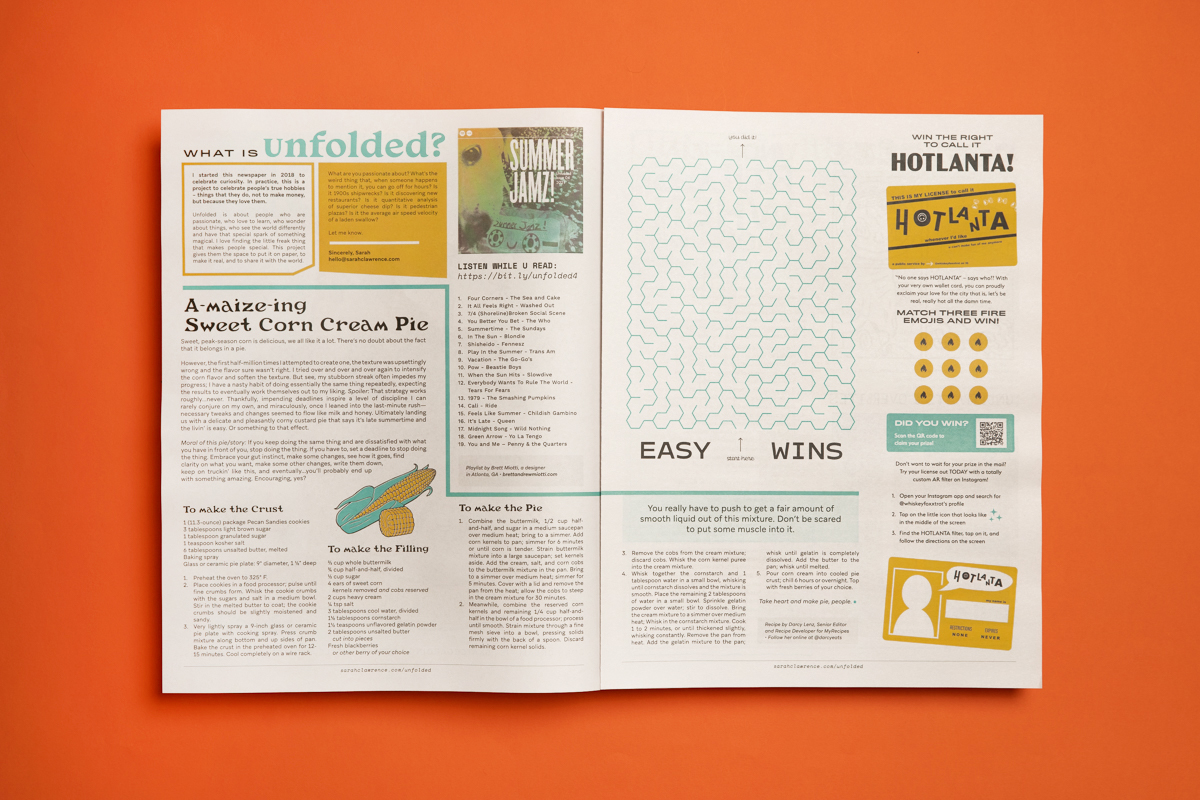 8 print projects to inspire you in September 2021: Unfolded by Sarah Lawrence. Printed by Newspaper Club.